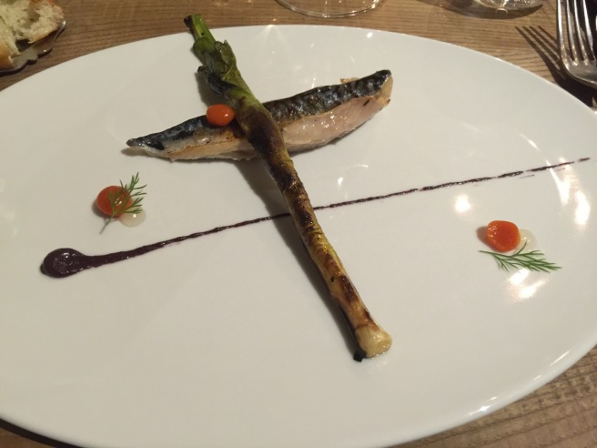 Mackerel, grilled leek, olive cream, pepperoni and lemon crees