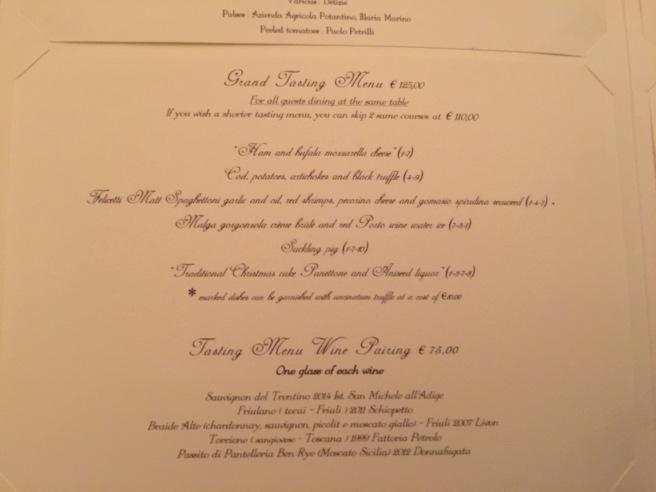 Grand tasting menu