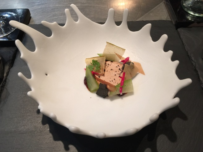 Foie Gras with textures of apple, rose hip and black sesame