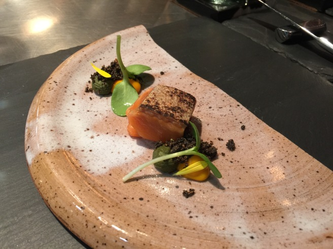 Arctic Char with onion, sunflower and carrot