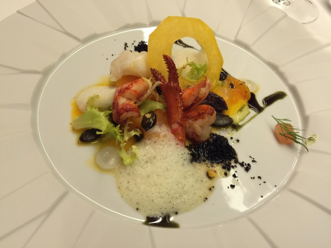 Lobster salad with pumpkin, vanilla and curry emulsion