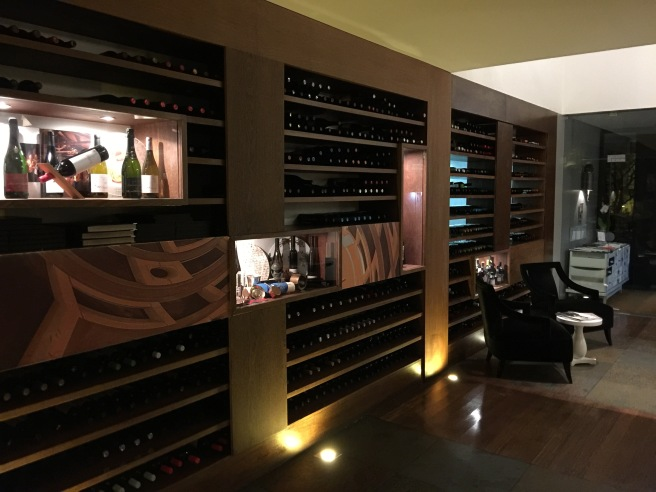wine storage in entry area