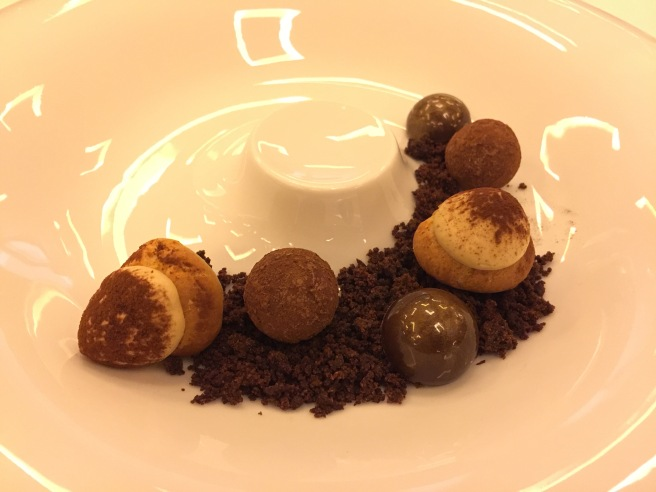 Puff shell with tiramisu/ chocolate truffle/ chocolate-hazelnut caramel