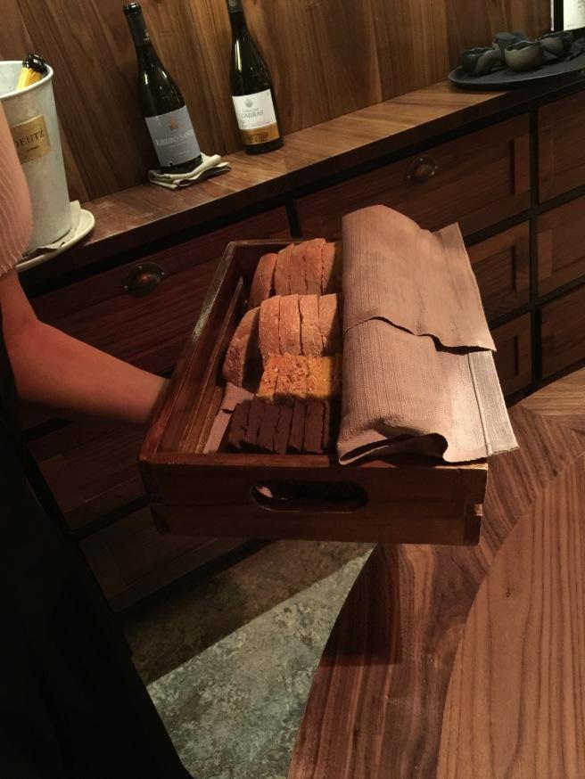 Bread tray: Corn and sweet potato,  dark/carob, Portugese white bread
