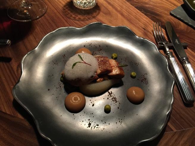Seared foie gras, poached pear, spiced beetroot, granola, pistachio cream