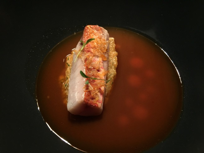Finished: Red mullet with 'caldeirada' sauce and fried scales