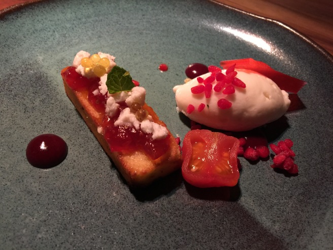 Olive cake with tomato jam, cream cheese ice cream