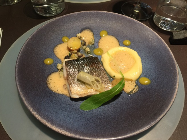 Fish of the day Sea Bass, thai boubillasbaisse and citrus condiment