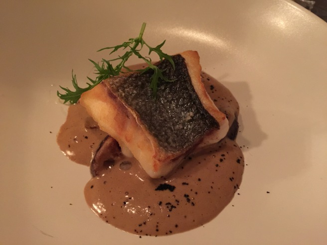 Sea bass filet with shitake mushrrom, salsify, coffee and mushrrom sabayon