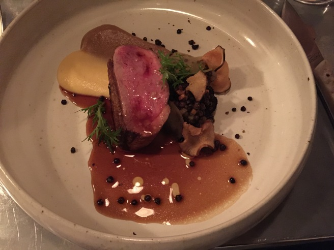 Duck breast, rutabaga, jerusalem artichoke, lentils and duck jus
