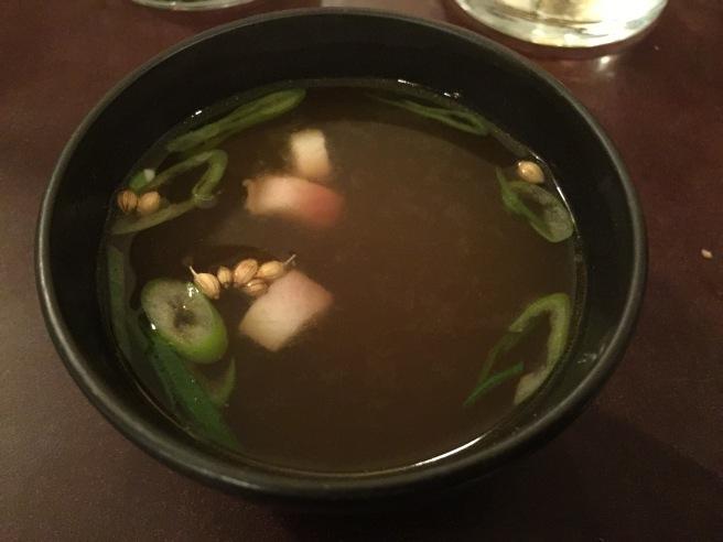 Bouillon de Crevette, Anguille fumee: shrimp bouillon with a little spice