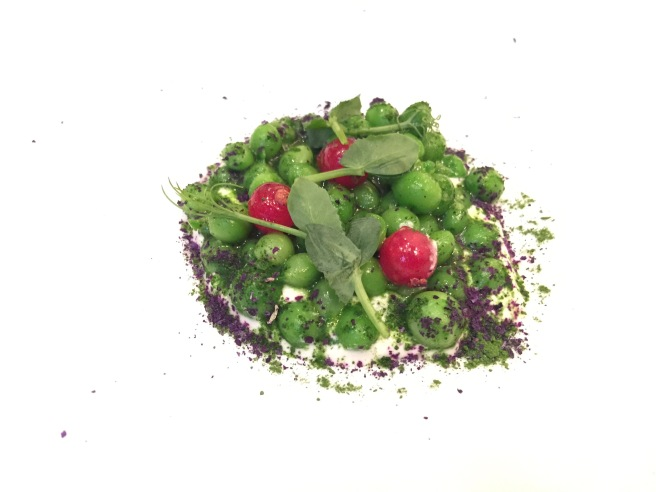 green peas, red currant and yogurt