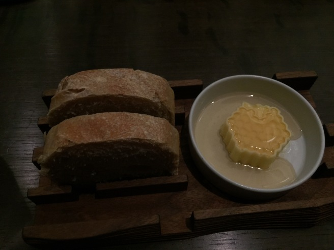 warm bread and butter with honey