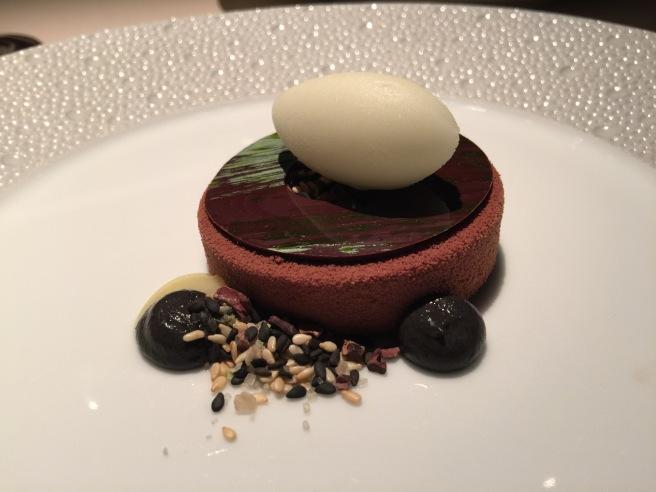 milk chocolate bavarois, black sesame financier, winged lime