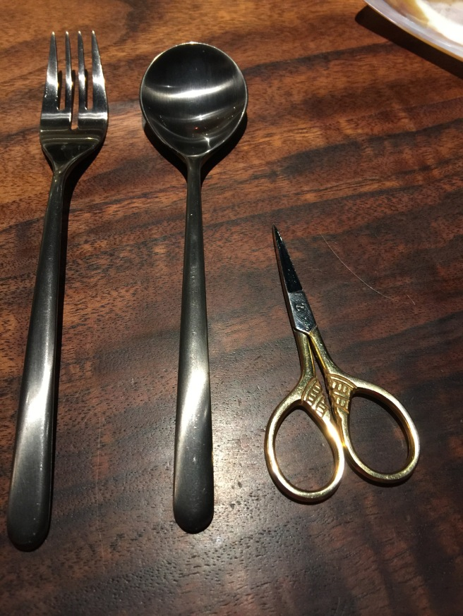 scizzors as a utensil for the next course