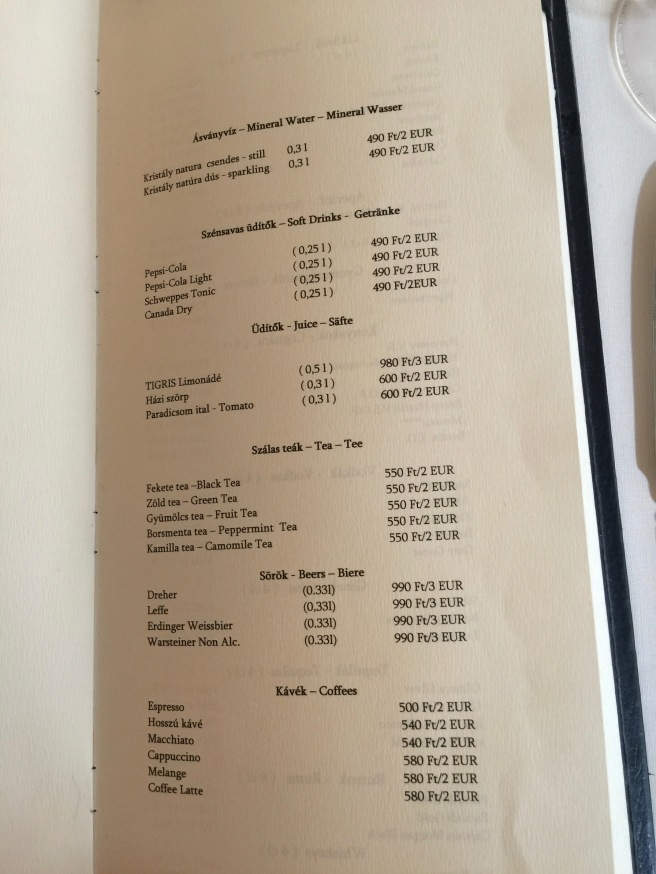 non alcoholic drink menu