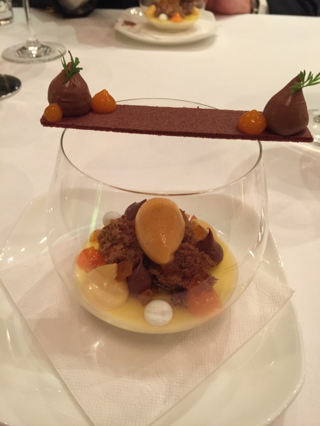 Goat milk panna cotta, carrot, orange