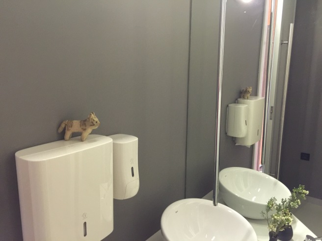 Frankie checked her hair in the bathroom mirror