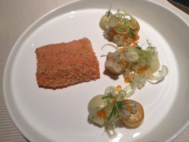 Salmon trout: slow cooked fennel, new potatoes