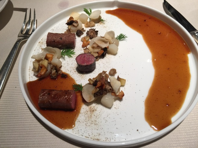 Hungarian Boar: Jerusalem artichokes, Wild mushrooms, red cranberry