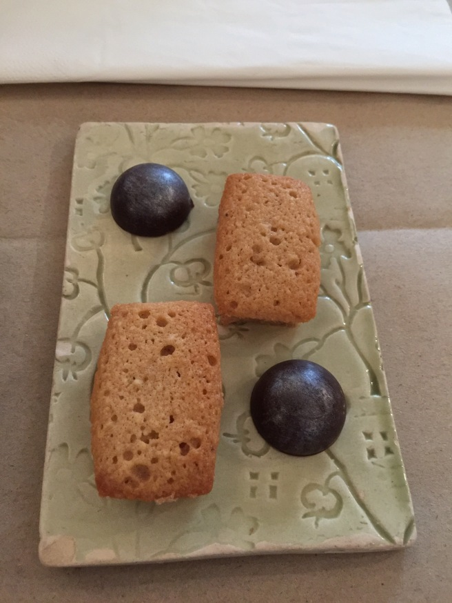 treats with coffee: cashew cake and black sesame seed bon-bon