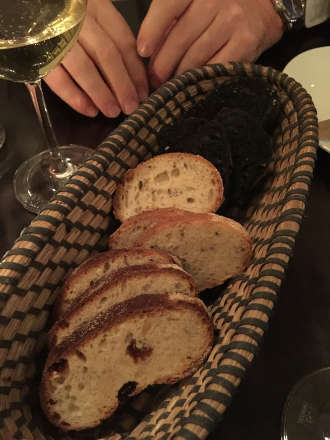 bread basket- sweet bread, white with caraway and squid ink dyed