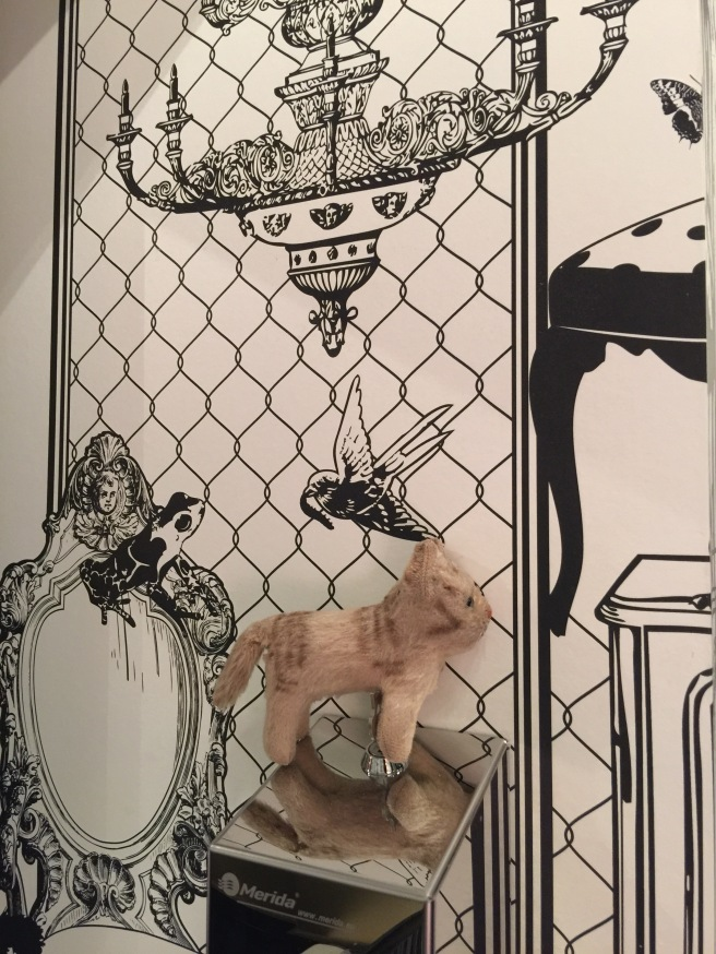 Frankie posed with the wallpaper