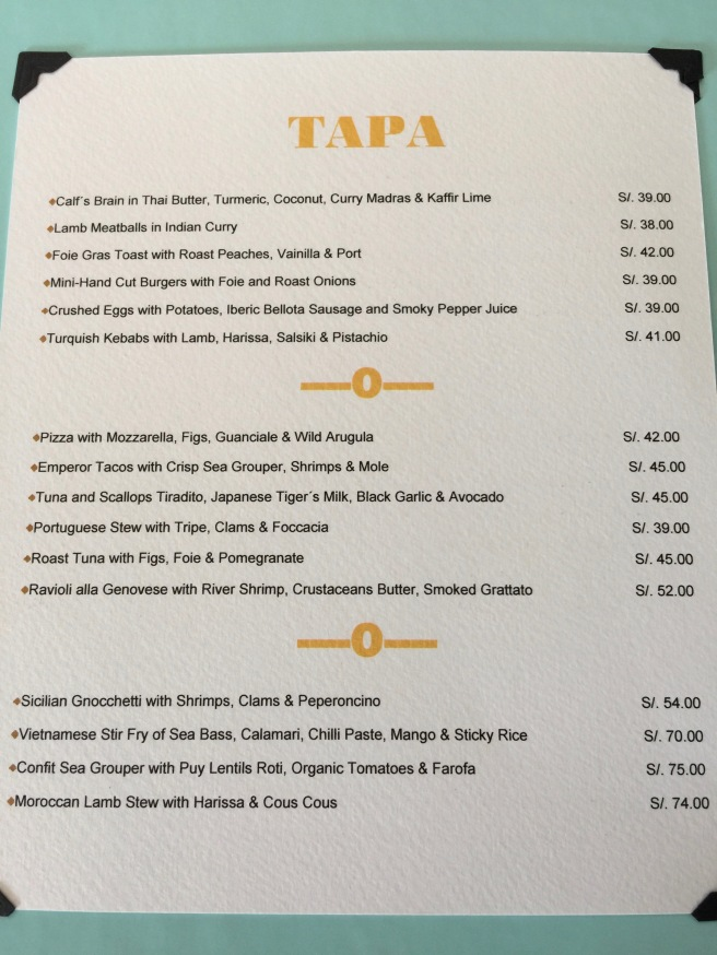 tapa menu
