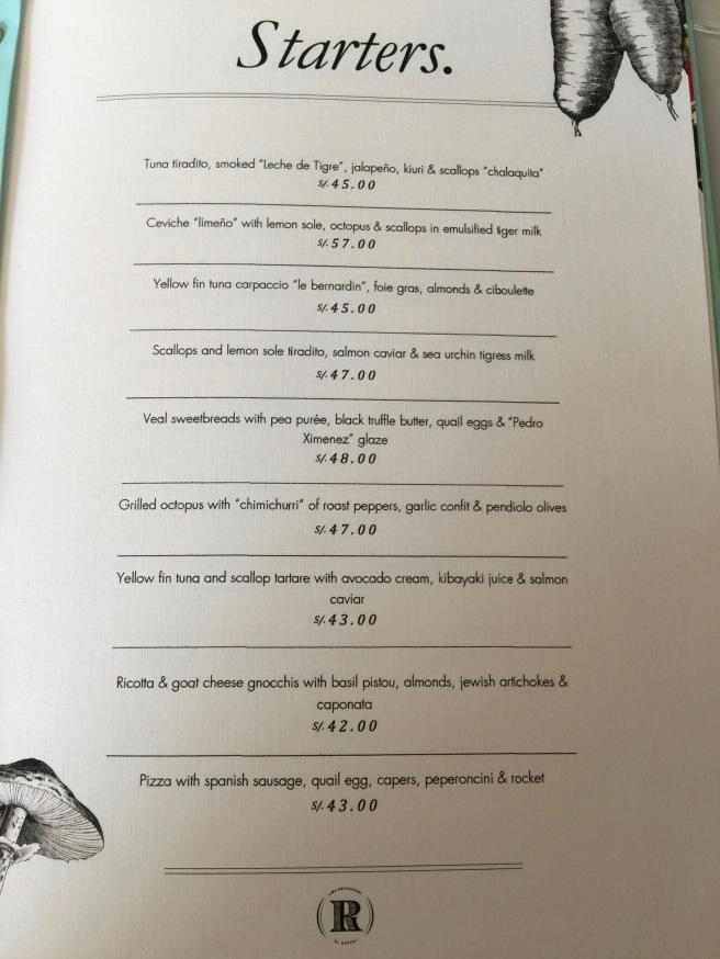 Starters menu 1