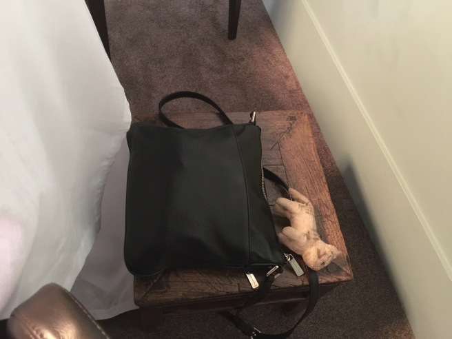After the train ride Frankie took a nap on the purse stool