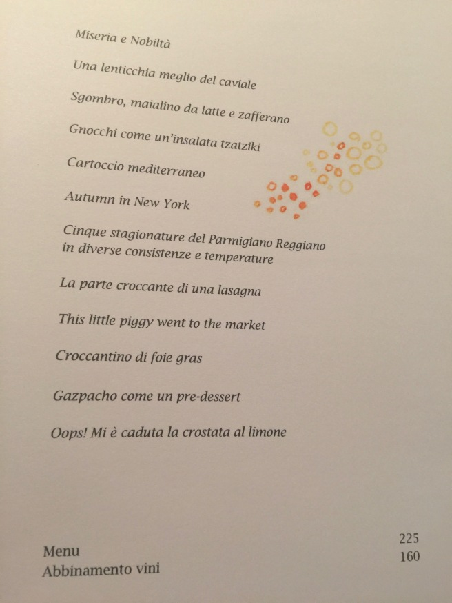 combo tasting menu in Italian