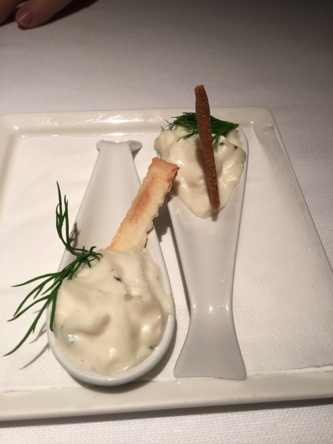 Amuse: cheese on spoon