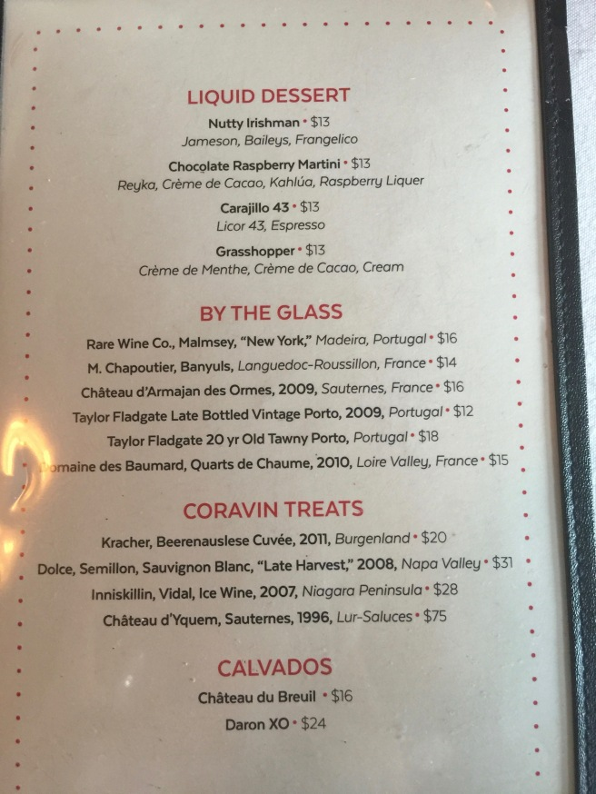 Liquid dessert menu