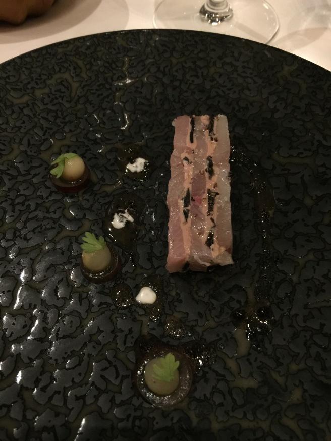 Compressed Hamachi with black truffle, foie gras terrine and celery