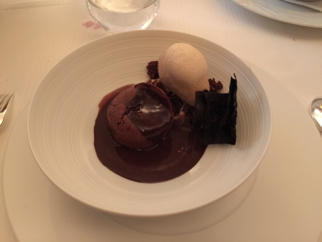 Frivolous of 70% Valhrona chocolate with Colombian coffee gelato