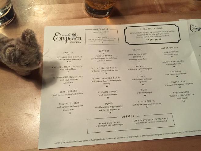 Frankie looked over the regular menu