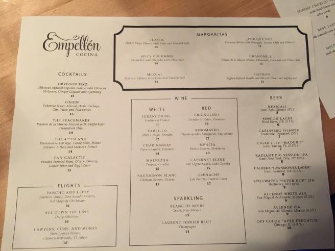 regular drink menu