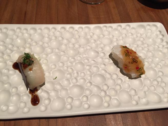 Sushi - sea: Squid - scallops with chia
