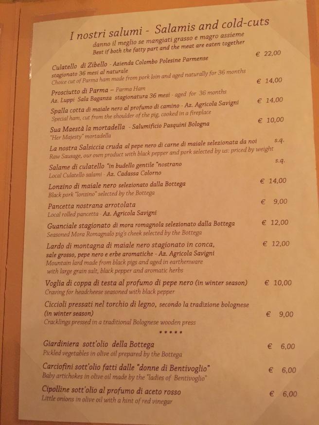 Salumi menu