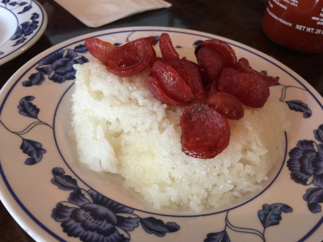 Sticky rice with Chinese pork sausage