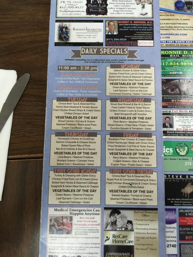 Daily special menu