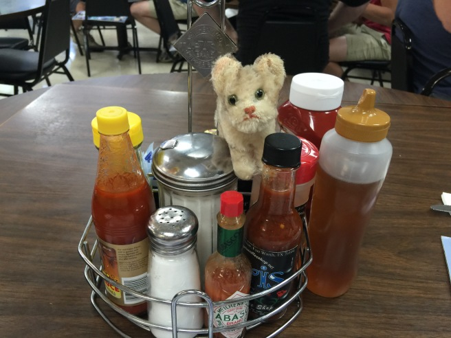 Frankie checked out the condiments