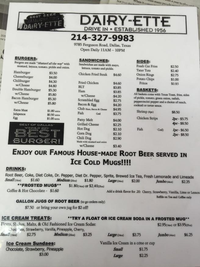printed menu