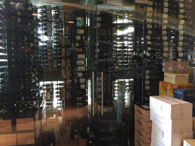looking into wine cellar