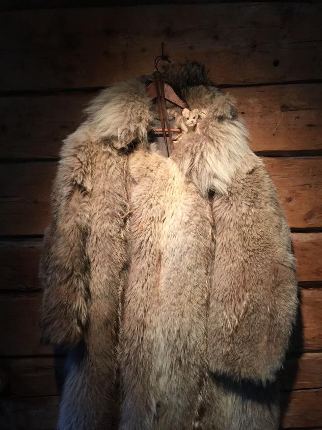Frankie tried on the fur coat