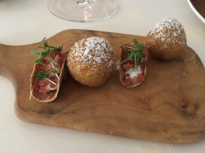 flat bread with ham. Tasty. Ball is sweetbread. OK mostly fryer taste