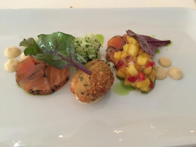 Crisp langoustine and salmon