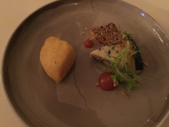 Norwegian cheeses with hazelnuts, quince and radish