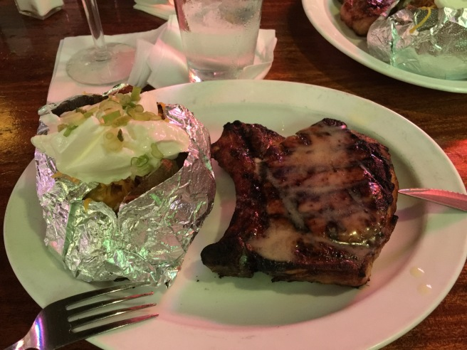 Pork chop and stuffed potato