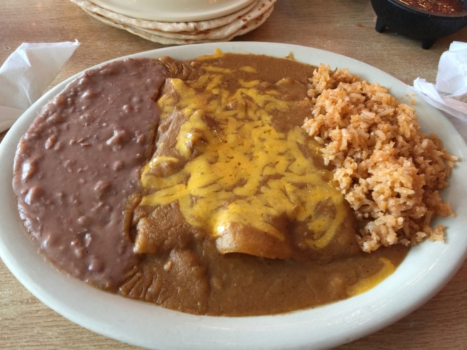 Cheese enchiladas with extra gravy (lunch special)